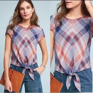 Cloth & Stone Plaid Tie Front Top S